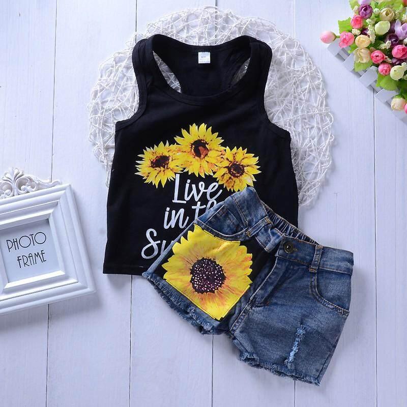 ffb8ba375 Clothing Sets Girls Suit Newborn Baby Sunflower Vest T-shirt Shorts Pant  Kids Sets 2pcs
