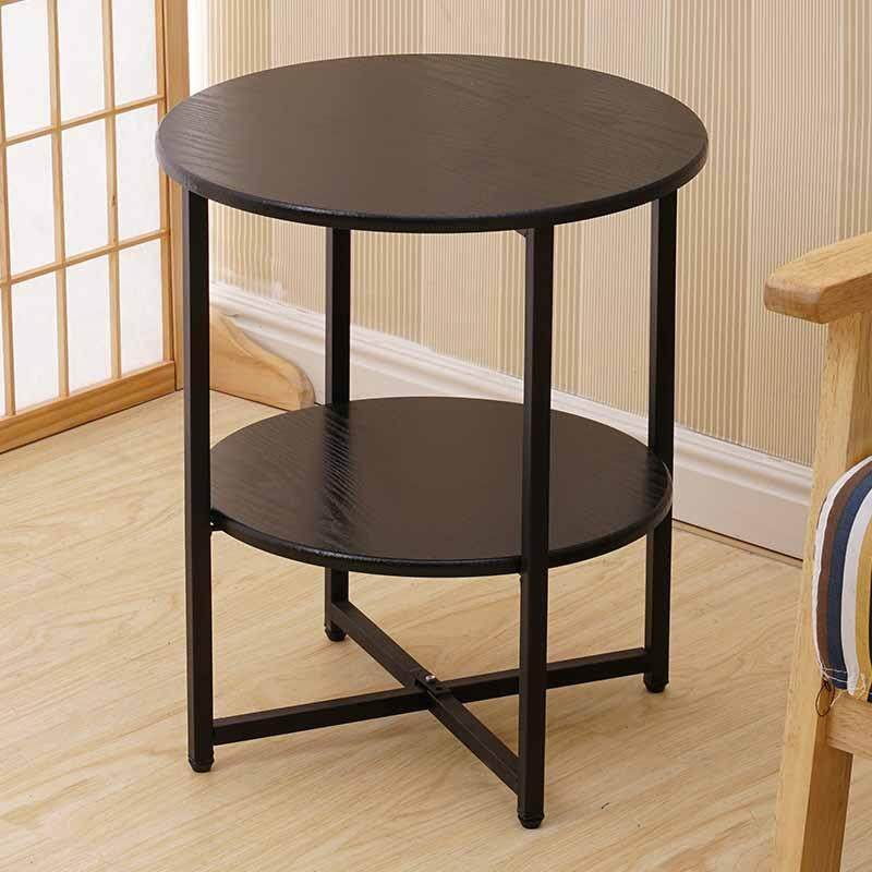 2 Layer Round Coffee Table, Multi-color Optional, Black/White Solid Metal Frame, Coffe Table with X-base
