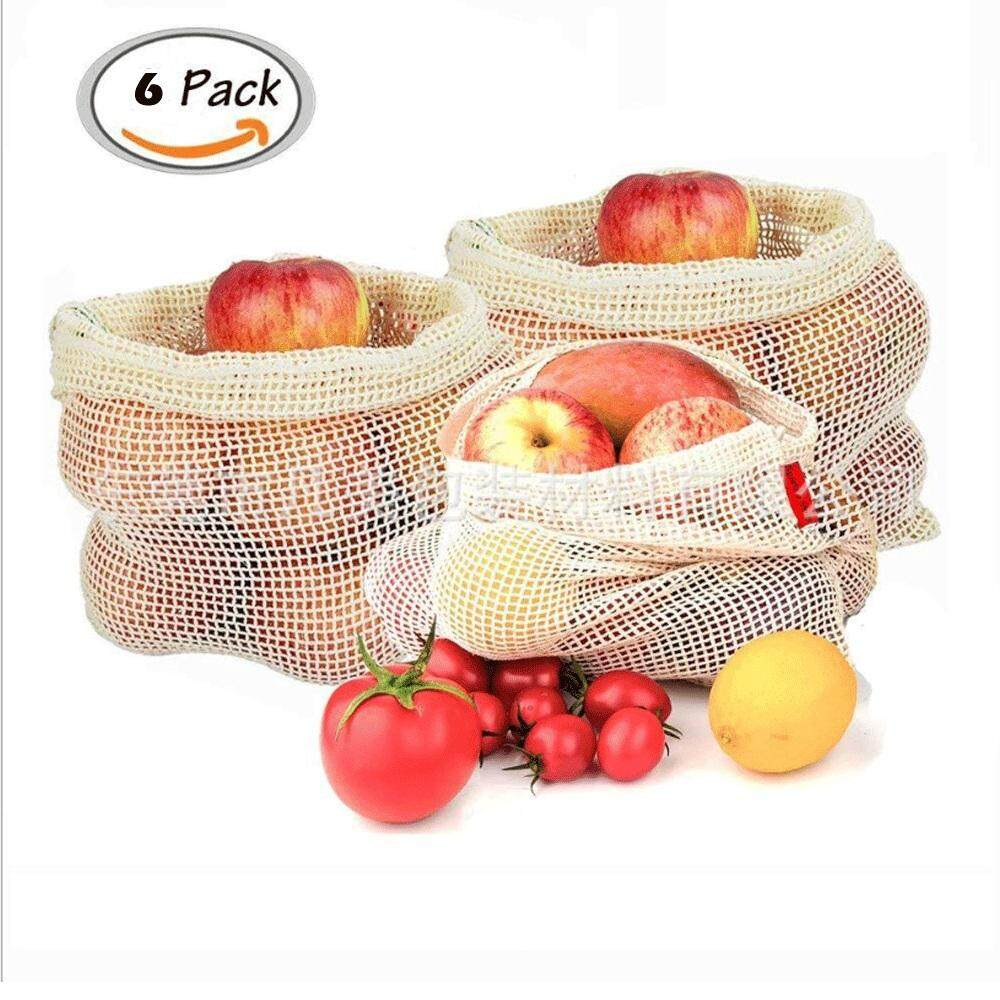 6x Reusable Cotton Mesh Produce Bags Grocery Fruit Storage Shopping String Bag