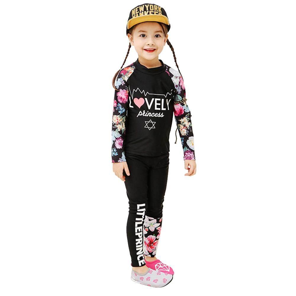 48c6323c50 2 pcs/set Baby Girls Muslim Swimsuit Boys Long Sleeve Swimming Suit Kids