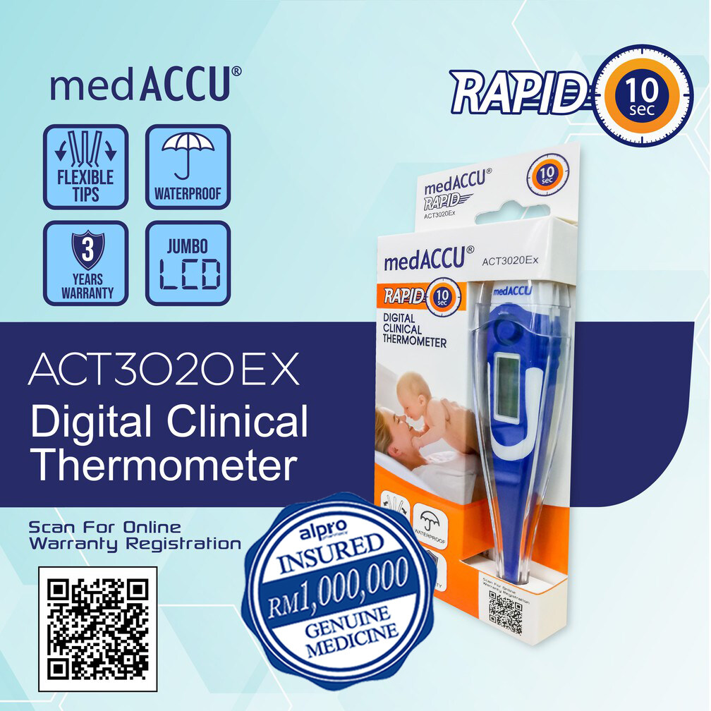 Alpro Pharmacy medACCU ACT 3020EX Digital Clinical Thermometer- Rapid 10 sec