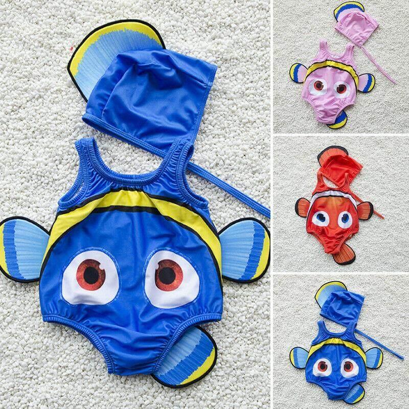 74dbcbc2644 2PCS Kids Baby Girl Swimsuit Goldfish Swimwear Swimmable Costume+Swimming  Hat