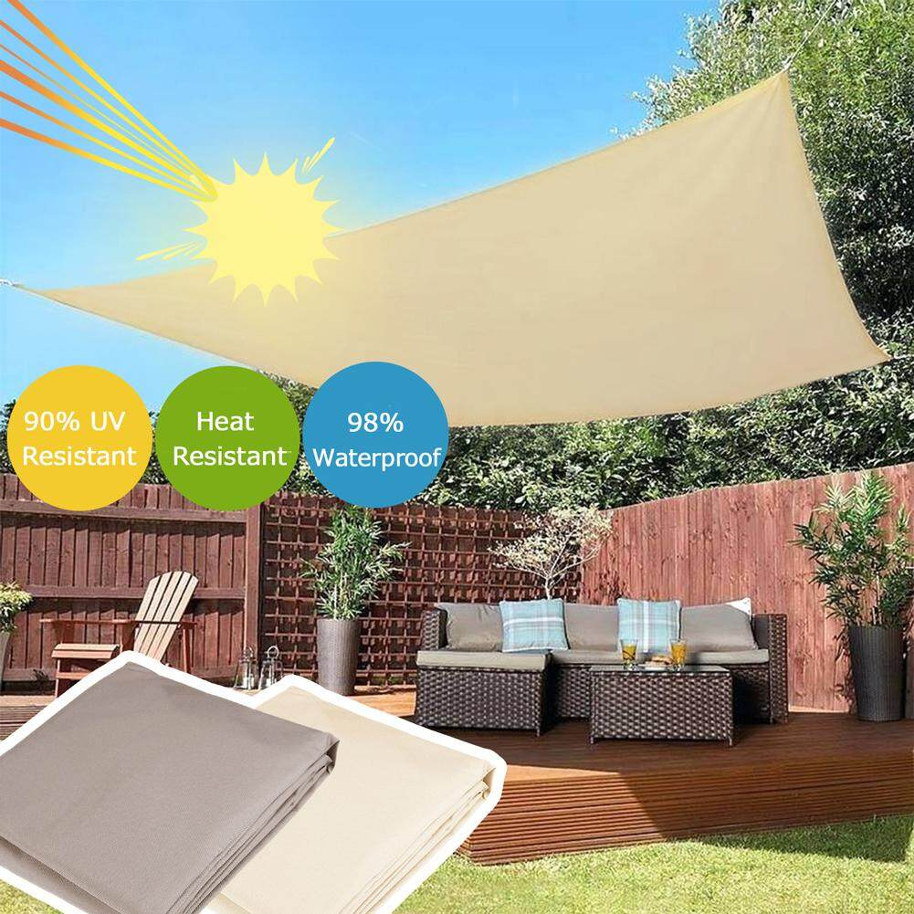 Sun Shade Mesh Canopy Awning Privacy Screen Quick Drying Gazebo Waterproof Outdoor Sunscreen Shade (creamy white )
