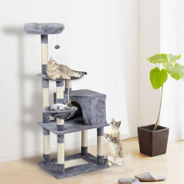 Đồ Chơi Cây Mèo Thú Cưng Tháp Leo Núi Cho Mèo Chung Cư, Đa-Hai Lớp, Có Võng Nhà Cho Mèo Đồ Nội Thất Trụ Gỗ Cứng Cào Cho Mèo RMYYX