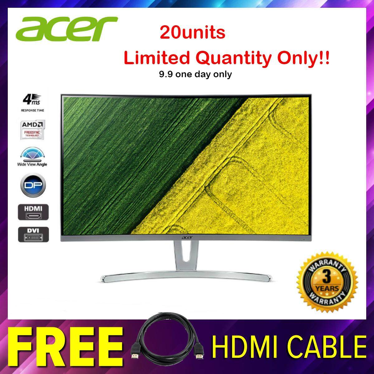 Acer ED273A 27 Curved VA 144Hz 4ms FreeSync Gaming Monitor (UM.HE3SM.A02) with VGA, HDMI, DP Port Malaysia