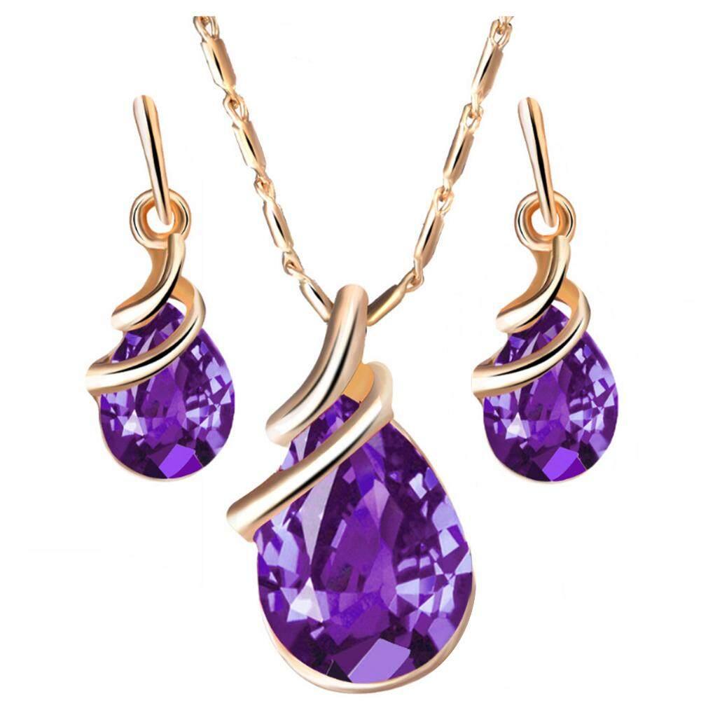 0586bedb4 Gravitational wave Fashion Women Teardrop Rhinestone Pendant Stud Earrings  Necklace Jewelry Set