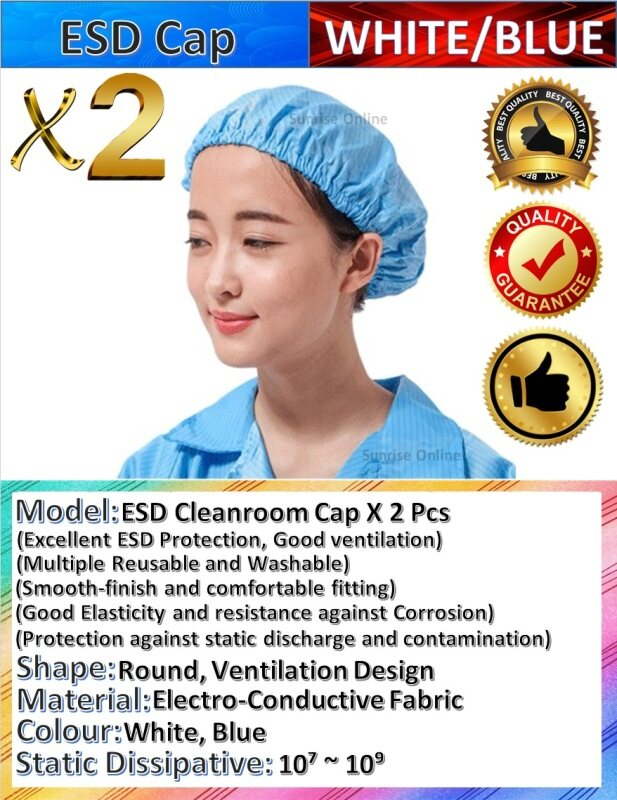 [ORIGINAL] ESD Cleanroom Cap X 2Pcs - White, Blue [Durable, Good Quality, Washable, Excellent ESD Protection]