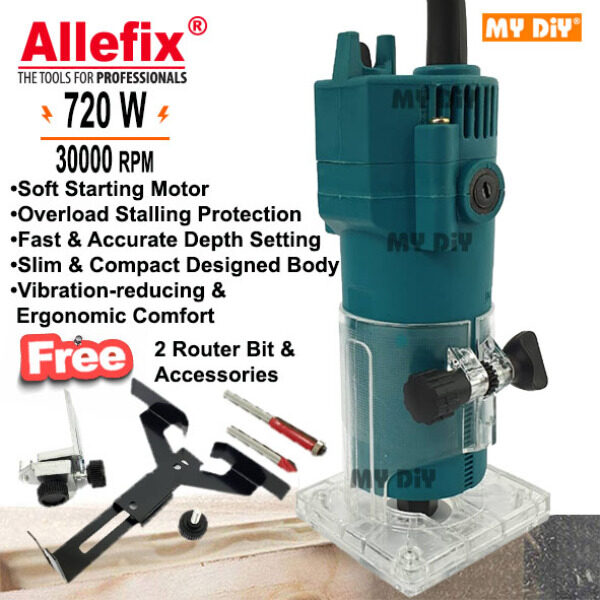 MYDIYHOMEDEPOT - Allefix Wood Trimmer Machine 720w Wood Trimmer Router Machine Electric Hand Trimmer Wood Router FREE 2 Router Bit And Accessories / Palm Router Trimmer