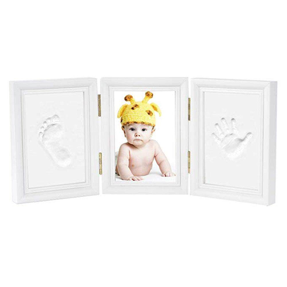 Newborn Baby Photo Frame Footprint Handprint Tri-fold Clean Ink Pad Gift Safe Desk Decoration