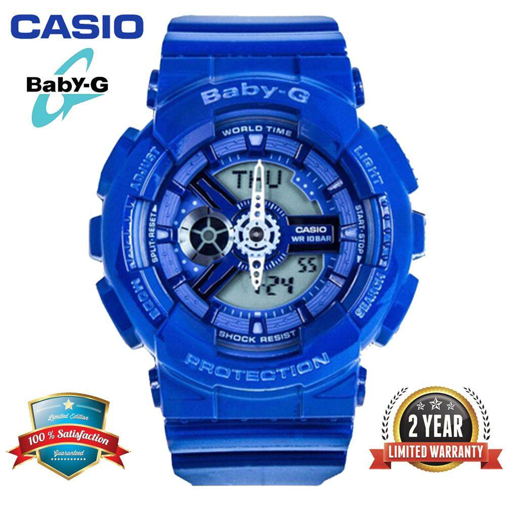 (Ready Stock)Original Casio Baby G_BA-110BC-2A Women Sport Watch Duo W/Time 200M Water Resistant Shockproof and Waterproof World Time LED Light Girl Wist Sports Watches with 2 Year Warranty BA110/BA-110 Blue Malaysia