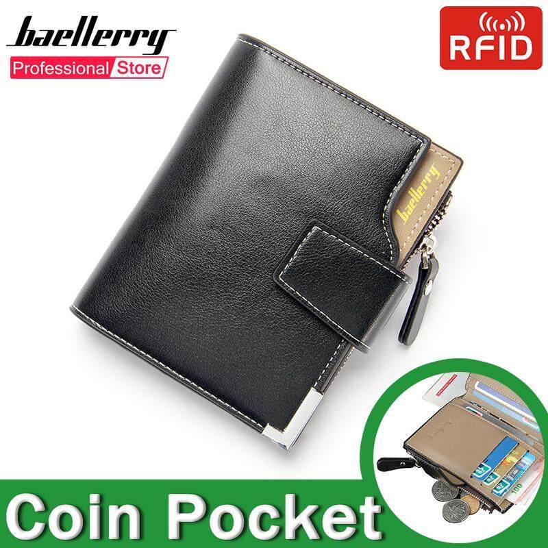 e613fb73ec Baellerry Wallet for Men Dompet Lelaki Multifunction Genuine Leather Card  Holder Business Zipper Coin Pocket ID RFID Bags Tri-fold Wallets 2019 Top1  ...