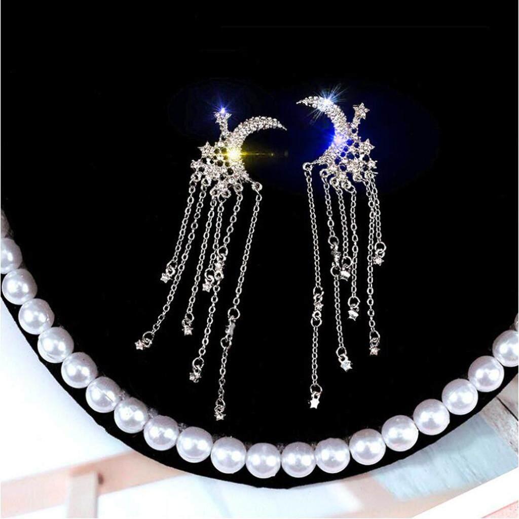 Teresastore Fashion Trend Long Moon Tassel Rhinestone Earrings Jewelry