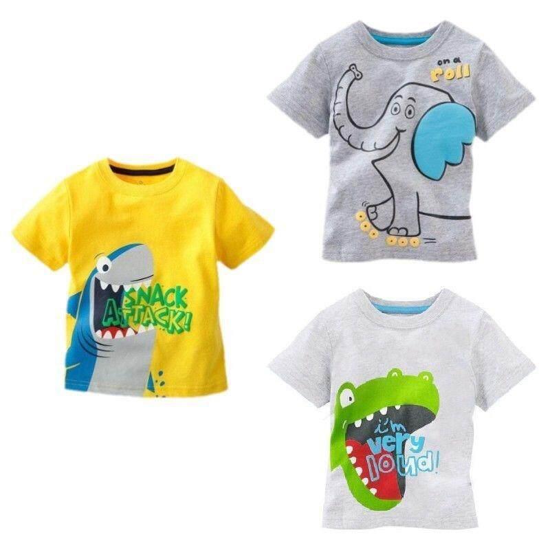 8f6d73a81fd0d Baby Kids Cartoon Cotton T-Shirts Cute Dinosaur Elephant Shark Printing Summer  Short Sleeve Shirt