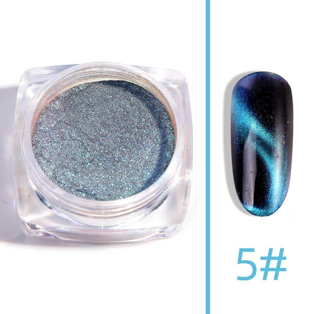 Docesty Cat Eyes Nail Chrome Powder Mirror Opal Effect Holographic Glitter  Nail Powder