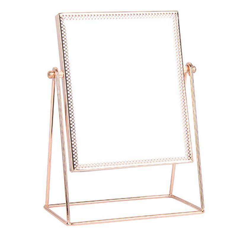Princess Metal Desktop Stand Mirror Personal Framed Makeup Side Mirror 360 Degree Rotating Rose Gold Tri-Angle Seat Streamline