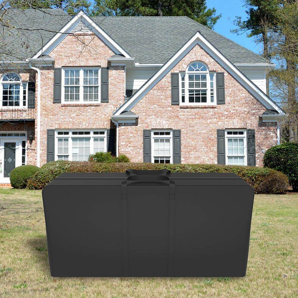 600D Oxford Cloth Black Windproof and Rainproof Outdoor Furniture Cushion Storage Bag