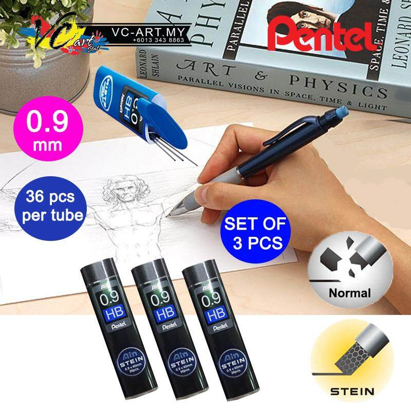 Pentel Ain Stein Refill Lead 2b/hb (0.9mm) - Set Of 3 By Vc Art Stat.