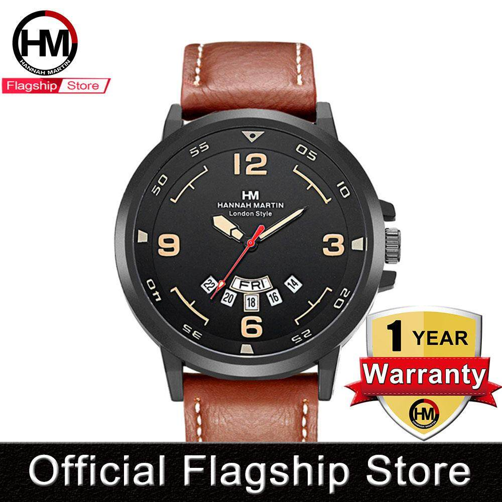 Hannah Martin Fashion Watch For Men Waterproof Quartz Watches Casual Leather Strap Japan Movement Accessories Clock Brown/ Black Malaysia