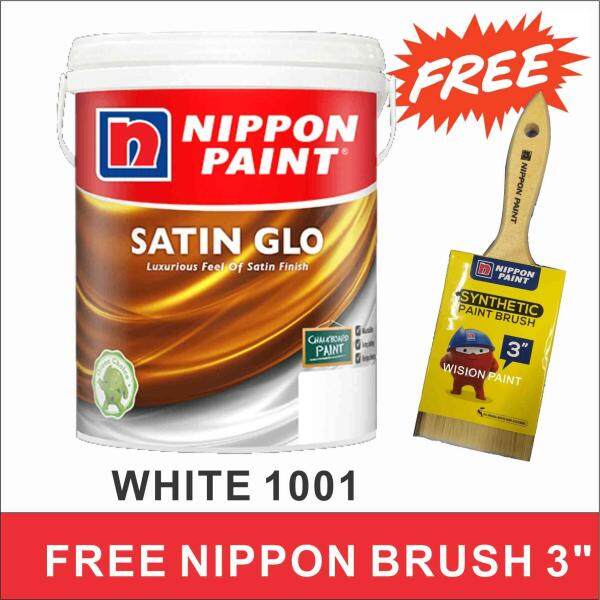 5L WHITE 1001 NIPPON PAINT SATIN GLO INTERIOR PAINT ( FREE NIPPON BRUSH 3  =1 )