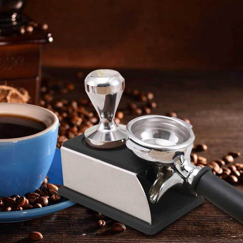 Stainless Steel Coffee Tamper Stand Coffee Powder Maker Rack Silicone Tamping Mat Coffee Tampers Tool Accessory Black