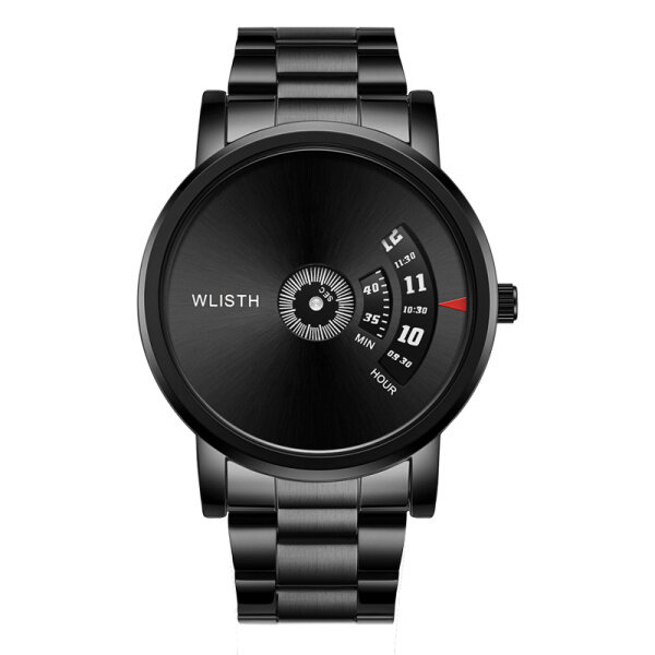 WLISTH new black mens watch waterproof mens watch every minute creative rotating dial watch mens Malaysia