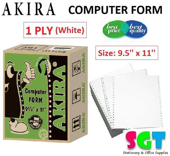 AKIRA 9.5'' x 11'' Computer Form 1 Ply 1000 Sets (White)
