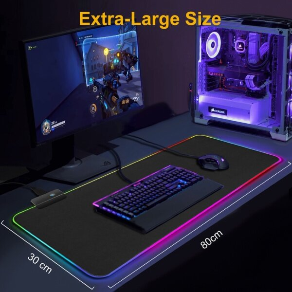 Canmove LED Luminous Colorful Lights RGB Gaming Mouse Pad Keyboard Mat for Computers