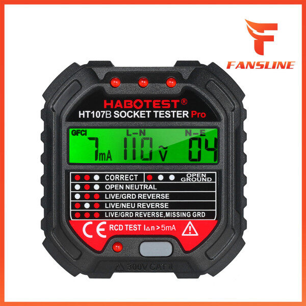 HABOTEST GFCI Outlet Tester with Voltage Display 90-250V Socket Tester Automatic Electric Circuit Polarity Voltage Detector Breaker Finder HT107D