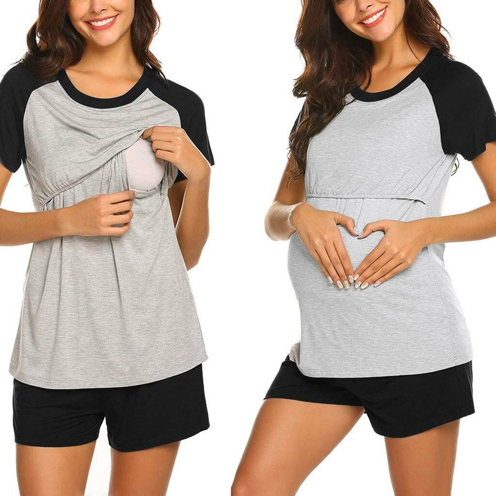 f34bce08e2d 2PCS Women Maternity Short Sleeve Nursing Baby Tops T-shirt+Shorts Pajamas  Set