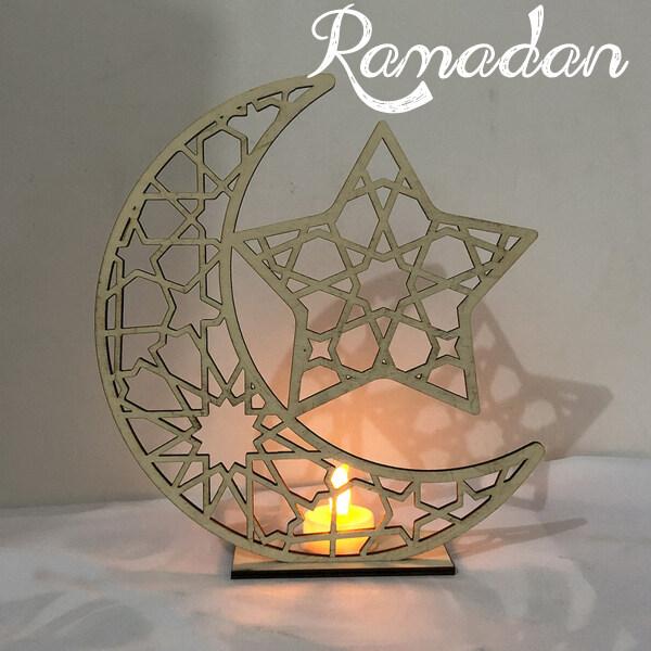 Bảng giá Tấm Treo Bằng Gỗ Hình Ngôi Sao Mặt Trăng Ramadan Eid Mubarak Có Dây LED Lễ Hội, Nguồn Cung Cấp Bên Quà Tặng Miễn phí vận chuyển