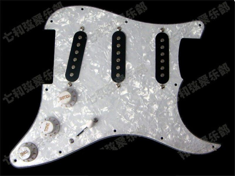 White Pearl Loaded Prewired Pickguard Scratchplate Circuit Assembly Electric Guitar With Sss Black Pickup Guitar Accessories Malaysia