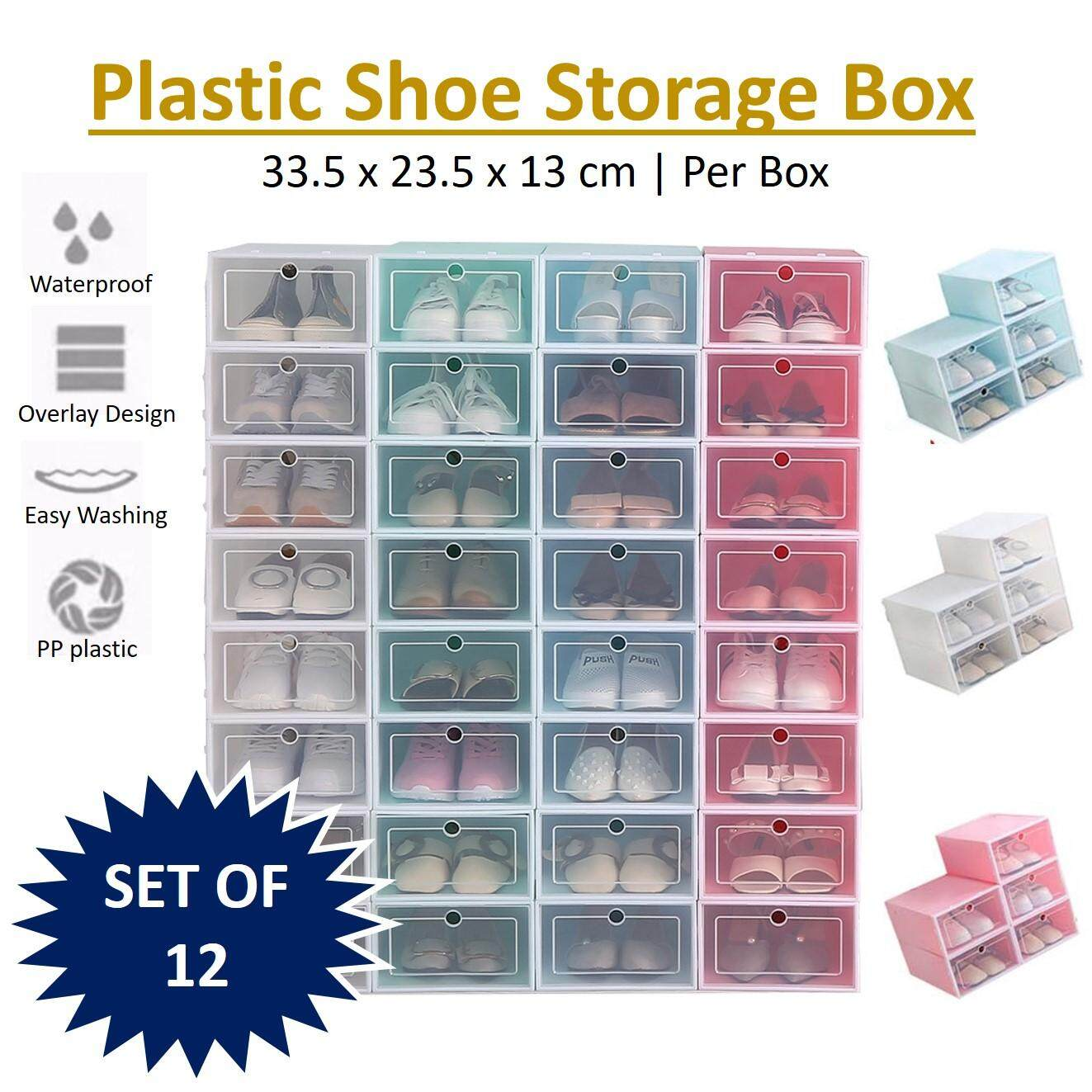 8d808b77da [SET OF 12 ] Stackable Shoes Box Foldable Shoes Rack Attachable Storage Box  Organizer Case