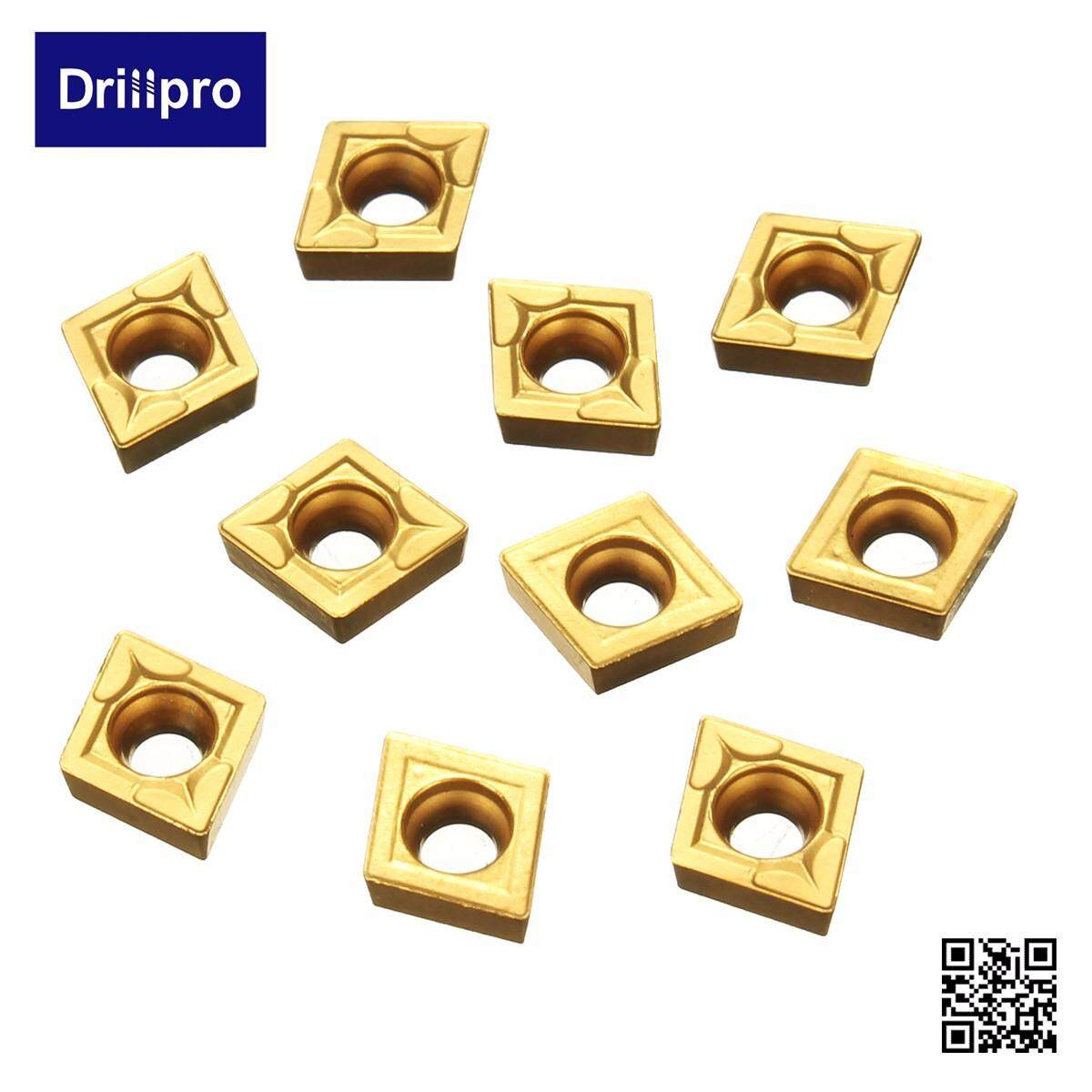 Drillpro 10Pcs CCMT060204-HM YBC251 Carbide Insert Titanium Coated Carbide Blades Cutter