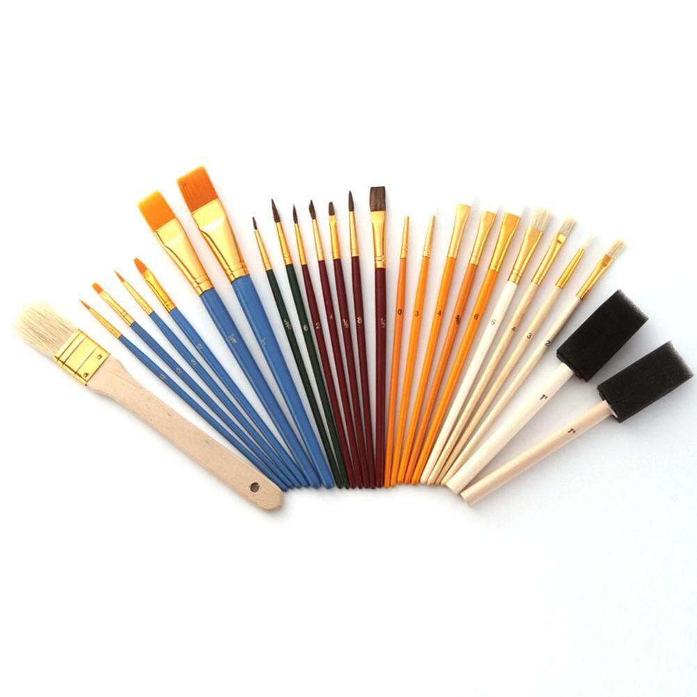 25 Cái/bộ Màu Nước Sơn Dầu Tay Gỗ Nghệ Thuật Tiếp Liệu Nghệ Thuật Sơn Bàn Chải Lông Nylon Đa Năng Bộ Vẽ Di Động