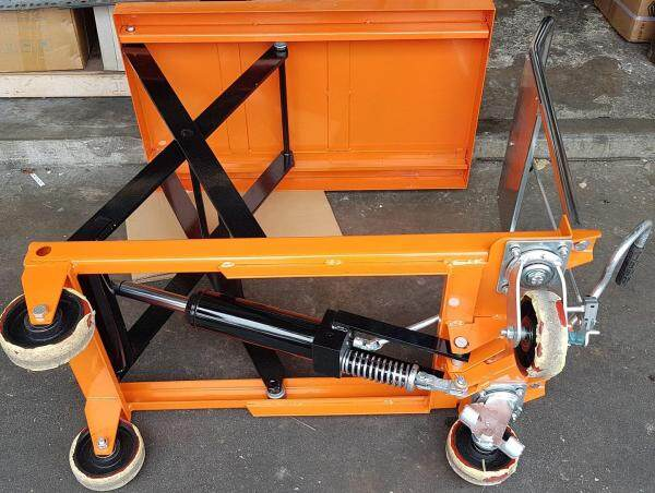 500 kg 1 year warranty table lift lifter lifting hydraulic oil pump level top portable wheel roller roll tire handle heavy trolley car truck push high height long tall pull scissor folding fold driver driver extend rise rising fork transport loading load