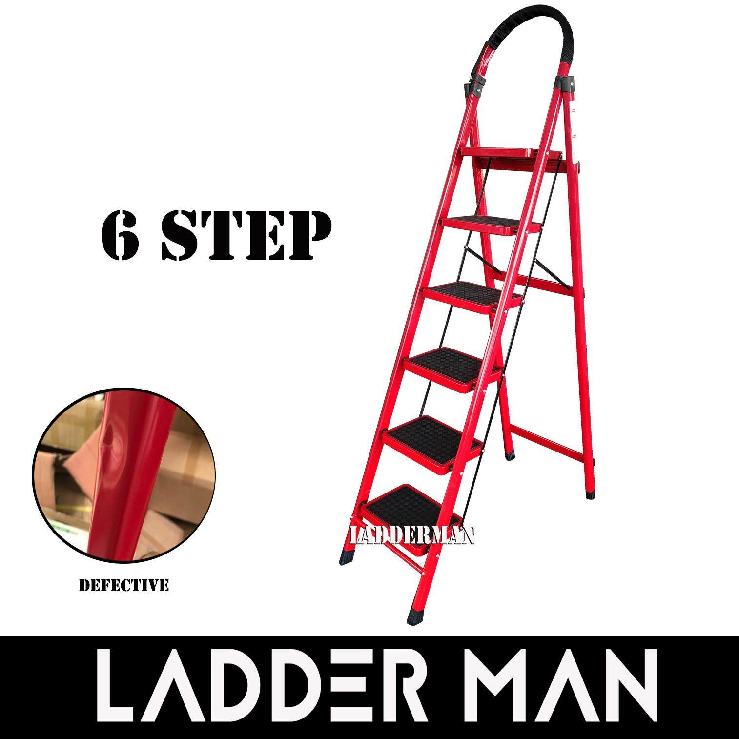 6 Step Medium Duty Defective Foldable Steel Ladder With Hand Grip