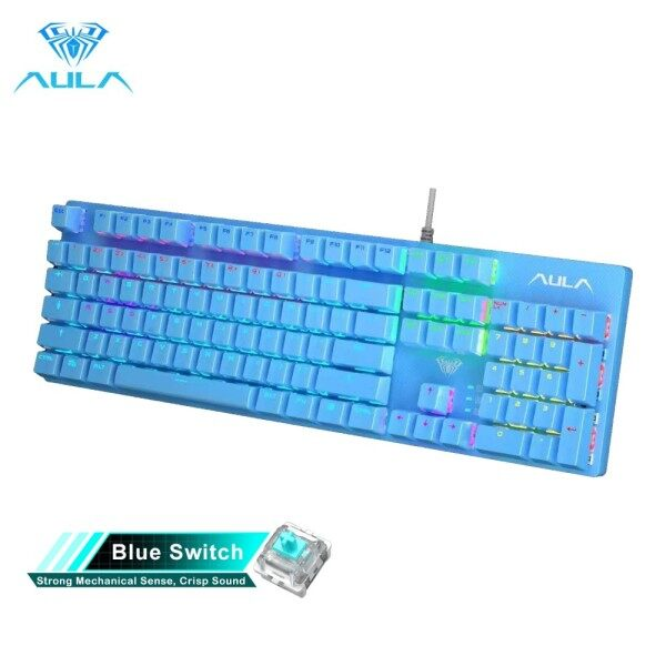 AULA S2016 Mechanical Gaming keyboard 104 Keys Anti-ghosting Marco Programming LED Backlit Keyboard Blue/Balck Swicth for PC Laptop Singapore