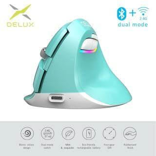 Delux M618 Mini 4.0 2.4 Ghz 2 mô hình Không Dây Dọc Chuột 4 Bánh Răng DPI RGB Thiết Sạc Silent Click Chuột dùng cho Văn Phòng xanh thumbnail