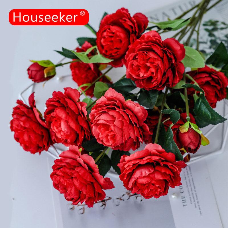 Houseeker Bông hoa mẫu đơn giả #20 dùng trang trí nội thất, tiệc tùng, cảnh quan sân vườn - INTL