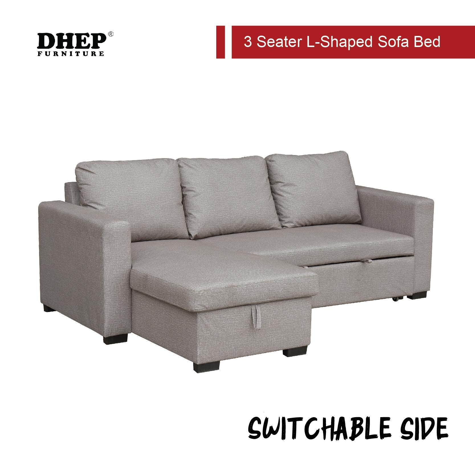 DHEP 3 Seat L-Shape Sofa Bed with Storage (Shadow Grey Or Light Brown)