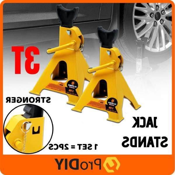 GS OPTIMUS 3 Ton Heavy Duty Jack Stand Yellow With Additional Safety Lock ( 1 Pair - 2Pcs ) RANDOM COLOUR