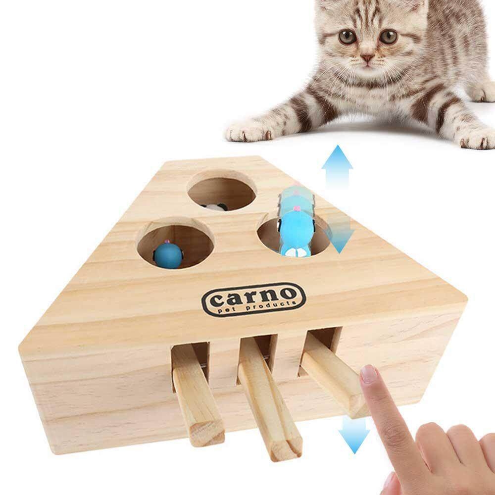 C-S Cat Toy Hit The Hamster Cartoon (three Holes Wood Color, Pine Silicone Material, 17.5x24x10cm, Bagged By Crazy-Store.