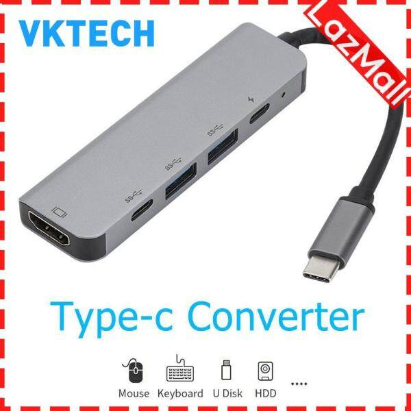 Portable 5 in 1 USB 3.1 Type C HUB Converter 4K Video HDMI USB-C 2 USB 3.0 PD Charging Adapter Dock for Laptop Notebook PC