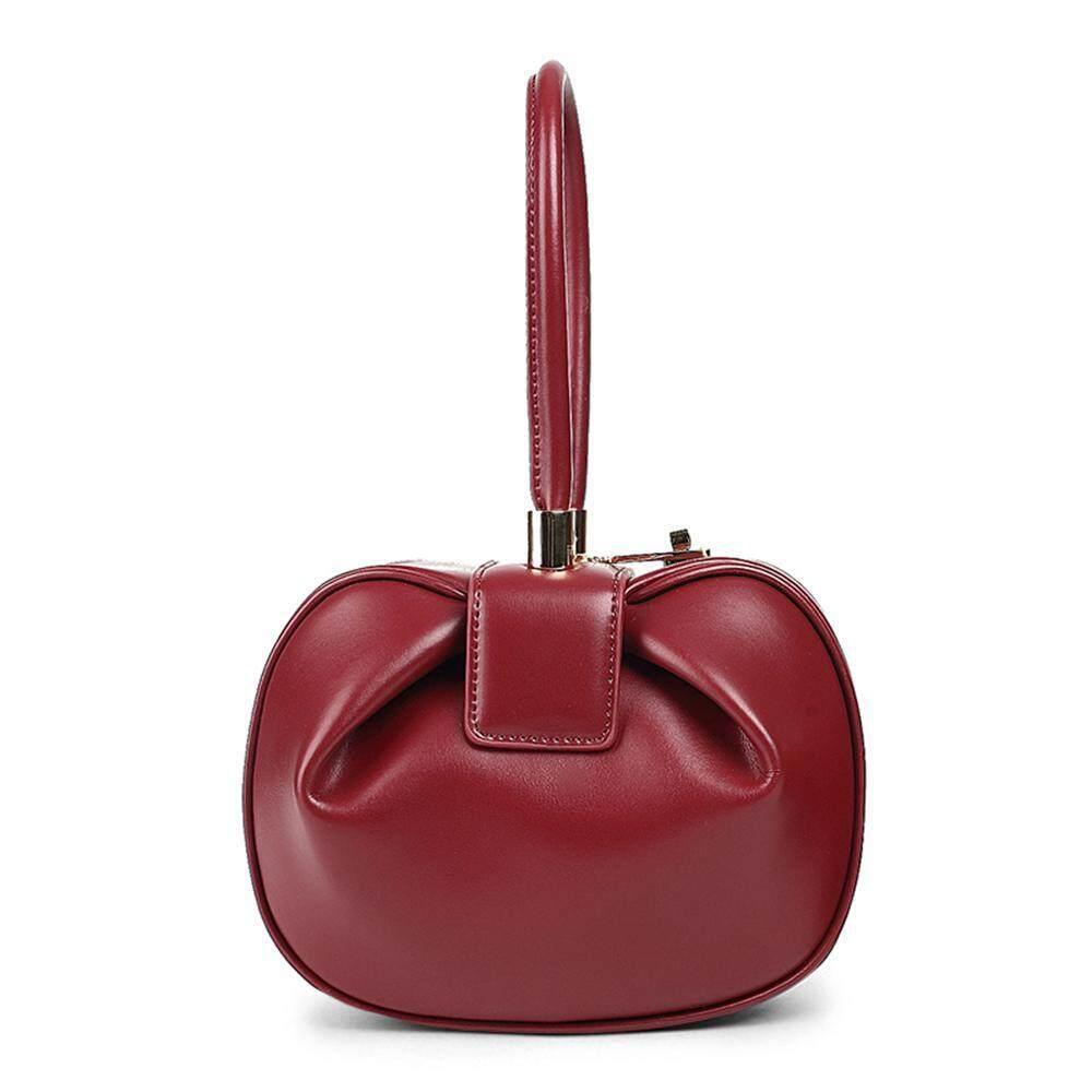 HOSdog Elegant Genuine Leather Top Handle Evening Bags Women Dumplings Handbags