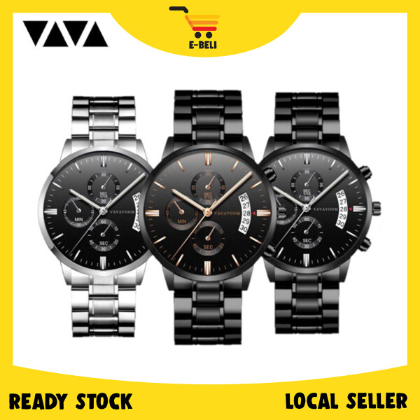 [Ready Stock] E-Beli VAVAVOOM Luxury Business Stainless Steel Quartz Fashion Men Watch Malaysia
