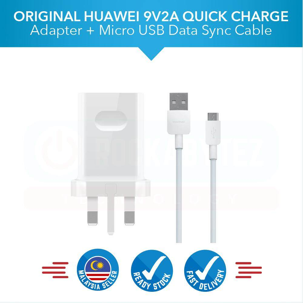 Original Huawei 9v2a Travel Charger Adapter With Micro Usb Fast Charging 2.0a Data Cable For Huawei By Rockabytez Technology.