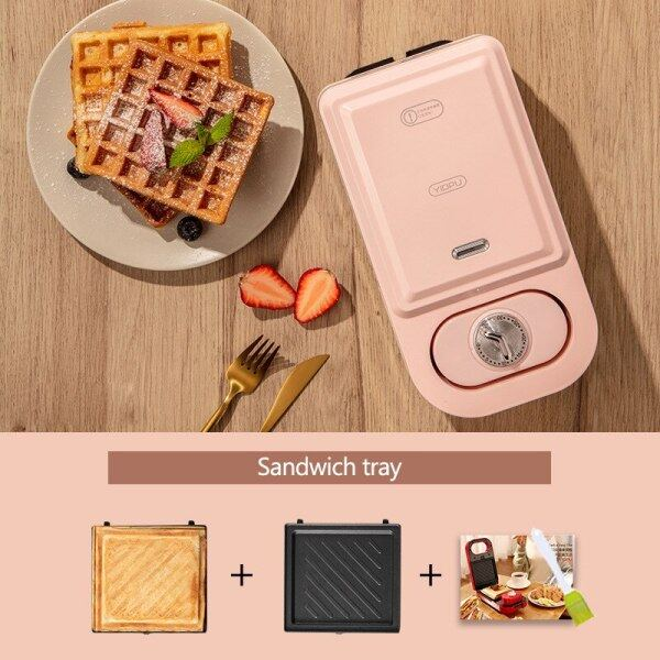 220V Electric Sandwich Maker Timed Waffle Maker Toaster Baking Multifunction Breakfast Machine Household Takoyaki Pancake Maker