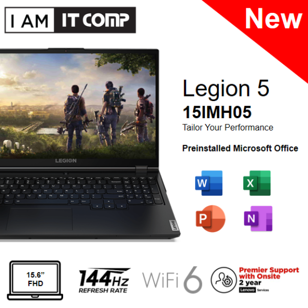 Lenovo Legion 5 15IMH05 81Y600EPMJ 15.6 FHD 144Hz Gaming Laptop ( i7-10750H/8GB/512GB SSD/GTX1660Ti 6GB/W10) FOC LEGION ARMORED BACKPACK Malaysia