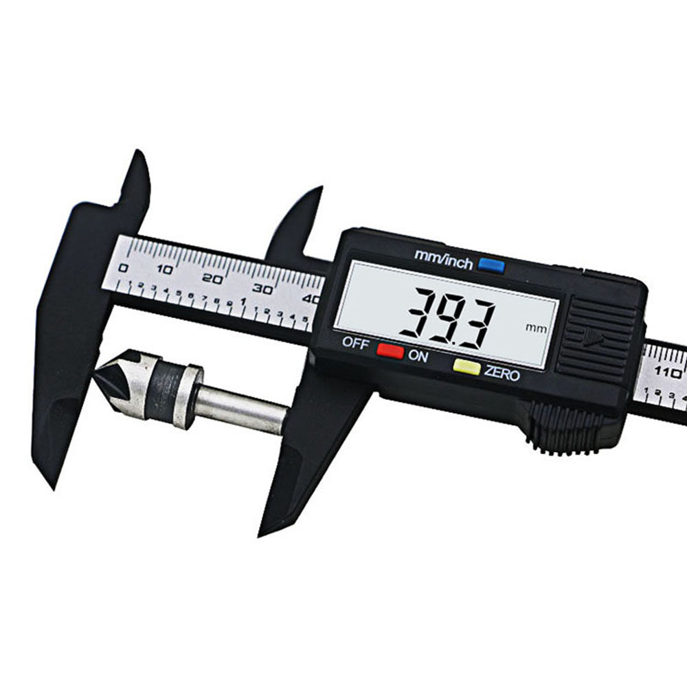 1* 150mm Digital LCD Carbon Fiber Gauge Vernier Calipers Measuring Tool Micrometer