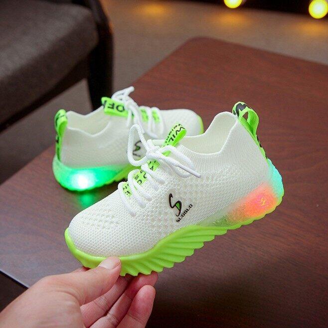 Giày Phát Sáng Ban Đêm Cho Trẻ Em Mới Giày Thể Thao Chạy Bộ Chữ Cho Bé Trai Bé Gái Giày Thường Ngày Giày Lưới Thể Thao Nữ Thời Trang Có Đèn LED giá rẻ